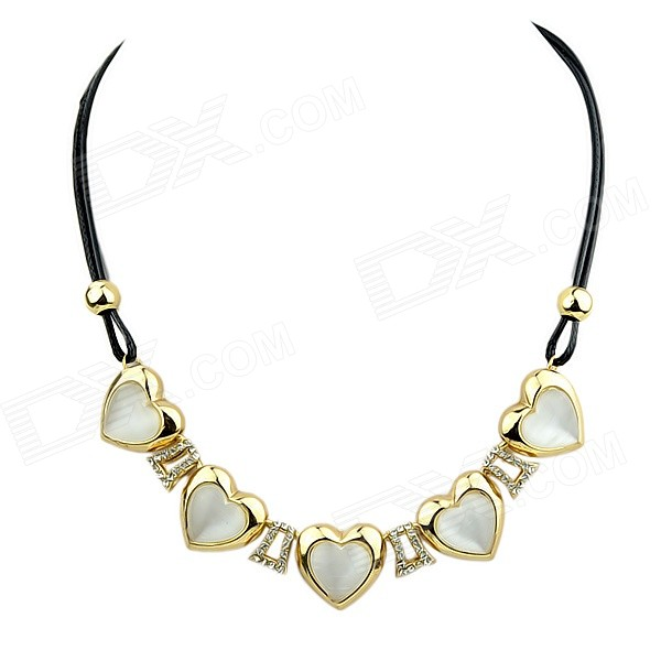 Women's Trendy Rhinestone-studded Heart-shaped Pendant Necklace - Gold + White noctilucence heart shaped pendant necklace
