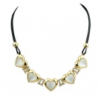 Women's Trendy Rhinestone-studded Heart-shaped Pendant Necklace - Gold + White