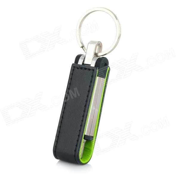 Ourspop U611 Stylish PU + Aluminum USB 2.0 Flash Drive USB Stick w/ Keychain - Black + Green (8GB)