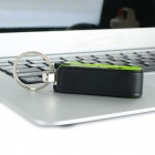 Ourspop U611 Stylable PU + Alumínio USB 2.0 Flash Drive USB Stick w / Keychain - Preto + Verde (8GB)