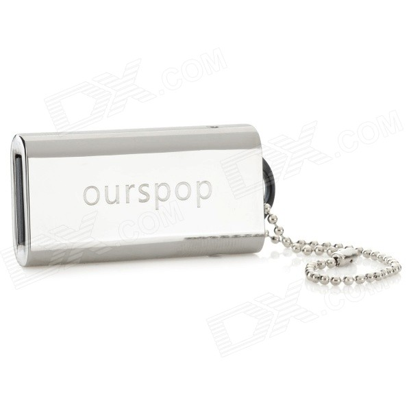 Ourspop op-11 Push-Pull Style USB 2.0 Flash Drive - Silver + Black (8GB)