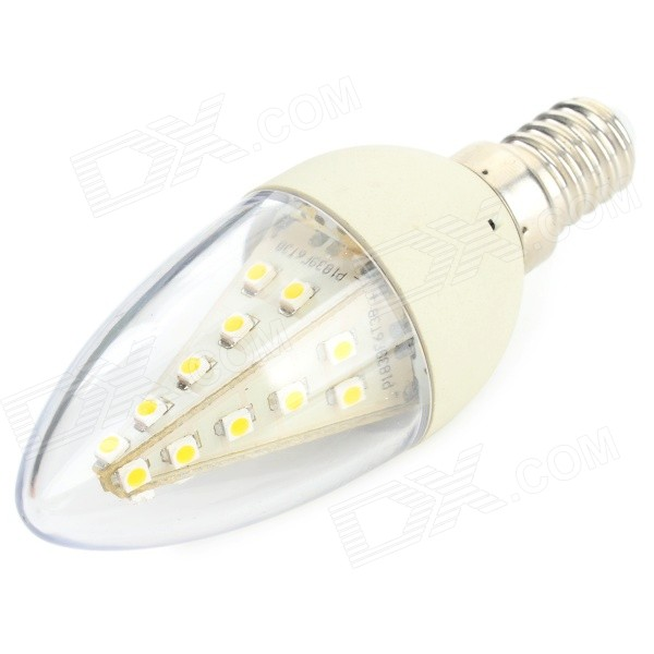 HH-073 E14 3W 80lm 3500K 24 x 3528 SMD LED Warm White Light Lamp - Transparent + Silver (AC 85~265V)