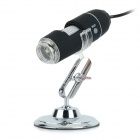Portable USB 2.0 1000X Digital Magnifying Microscope w/ 8-LED Light - Black + Silver