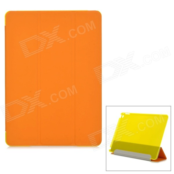 Protective PU + Plastic Case w/ Stand for IPAD AIR 2 - Orange + Yellow