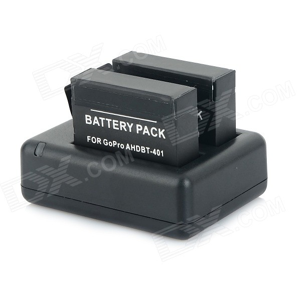 Rechargeable Dual 1230mAh 3.8V Li-ion Batteries + Dual-USB Charger Set for GoPro Hero 4 - Black gkl211 charger for leica geb221 and geb211 li ion batteries charger