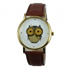 Women's Owl Pattern PU Band Analog Quartz Watch - Brown (1 x 377)