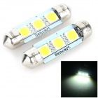 SENCART Festoon 39mm 2W 40LM 6500K 3 x 5054 SMD LED luz branca lâmpada de leitura do carro (12 ~ 16V / 2PCS)