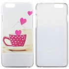 Teacup & Hearts Pattern Protegente para PC caso traseiro para IPHONE 6-Branco + Deep Pink + Multi-colorir