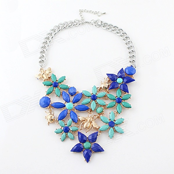 Nc-5861 Women's Fashionable Artificial Gemstone Inlaid Flower Pattern Chunky Pendant Necklace exquisite candy color flower pattern pendant necklace for women