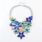 Nc-5861 Women's Fashionable Artificial Gemstone Inlaid Flower Pattern Chunky Pendant Necklace