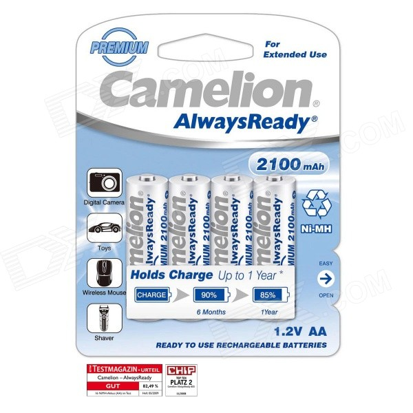 Camelion AlwaysReady 2100mAh 1.2V Ni-MH AA Rechargeable Batteries (4 PCS) ultrafire aaa 1 2v 800mah rechargeable ni mh batteries green black 4 pcs