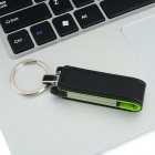 Ourspop U611 Stylish PU + Aluminum USB 2.0 Flash Drive USB Stick w/ Keychain - Black + Green (16GB)