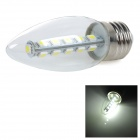 E27 5W 140lm 6000K White Light 5050 SMD LED Candle Bulb - Transparent + Silver (220V)