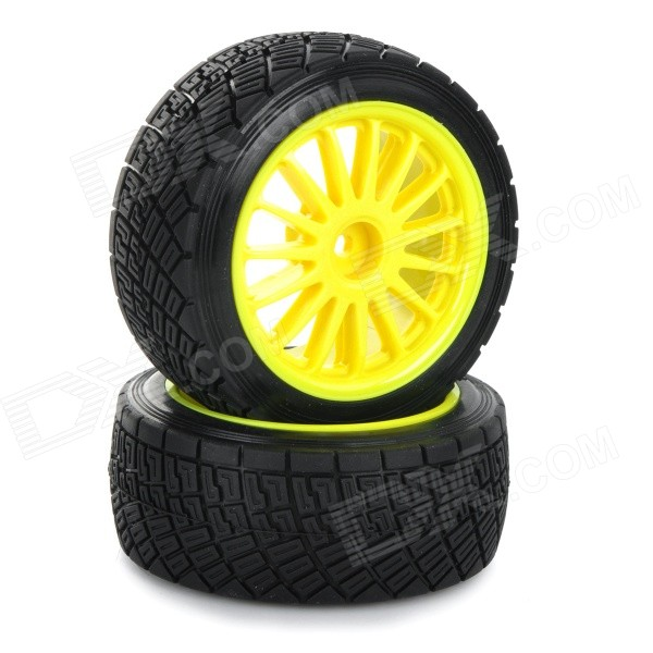Replacement Plastic Tire w/ Wheel Rim Hub for HPI 1:10 On-Road Model Car - Black + Yellow (2pcs) blue led backlit digital clock with calendar temperature alarm 4 aa