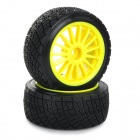 Replacement Plastic Tire w/ Wheel Rim Hub for HPI 1:10 On-Road Model Car - Black + Yellow (2pcs)