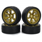 Universal Replacement Tire w/ Wheel Rim Hub for 1:10 On-Road Model Cars - Black + Brown (4pcs)