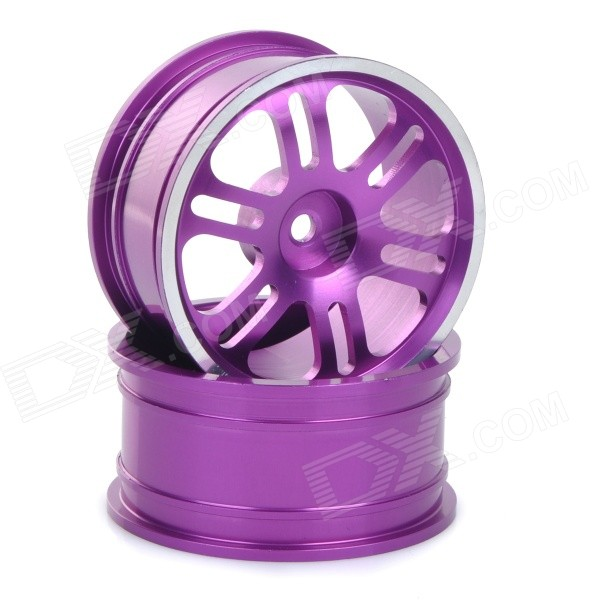 Universal Replacement Aluminum Alloy Wheel Rim Hub for 1:10 Model Cars - Purple (2pcs) universal replacement tire w wheel rim hub for 1 10 on road model cars black brown 4pcs