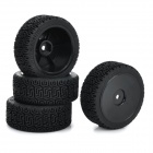 Universal Replacement Plastic Tire w/ Wheel Rim Hub for 1:10 On-Road Model Cars - Black (4pcs)