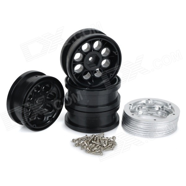 Universal Replacement Wheel Rim Hub w/ Spacers & Screws for 1:10 Model Cars Modification (4PCS)