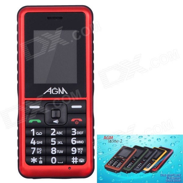"""AGM Stone 2 Waterproof IP67 Quad-Band GSM Bar Mobile Phone w/ 1.77"""" Screen, FM - Red"""