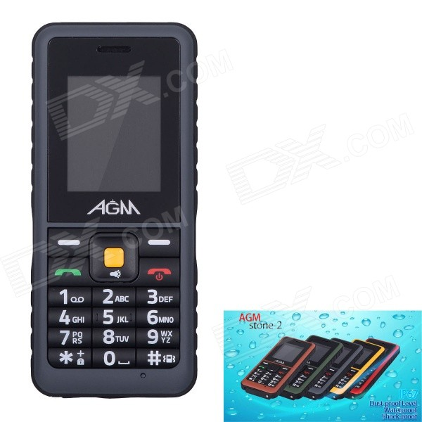 AGM Stone 2 Waterproof IP67 Quad-Band GSM Bar Mobile Phone w/ 1.77 Screen, FM - Grayish Black nokia c1 02 gsm barphone w 1 8 lcd single sim dual band and fm black