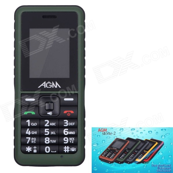 "AGM Stone 2 Waterproof IP67 Quad-Band GSM Bar Mobile Phone w/ 1.77"" Screen, FM - Green"