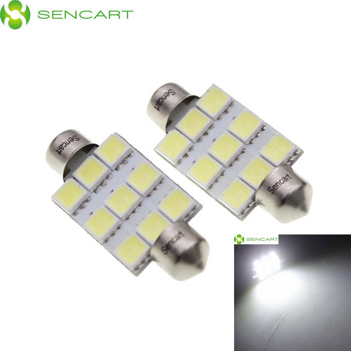 SENCART Festoon 39mm 5W 180LM 6500K 9 x 5054 SMD LED White Light Car Reading Lamp (12~16V / 2 PCS)