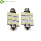SENCART Festoon 39mm 5W 180LM 6500K 9 x 5054 SMD LED luz branca lâmpada de leitura do carro (12 ~ 16V / 2 PCS)
