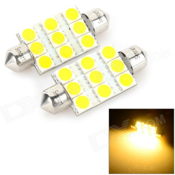 SENCART Festoon 39mm 5W 160LM 3500K 9 x 5054 SMD LED Warm White Light Car Reading Lamp (12~16V)