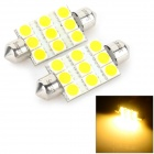 Sencart Festoon 39mm 5W 160LM 3500K 9 x 5054 SMD LED Warm White Light Car Leselampe (12 ~ 16V)