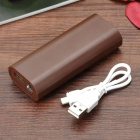 DIY 2 x 18650 Li-ion Mobile Power Bank Case w/ LED Flashlight - Deep Coffee