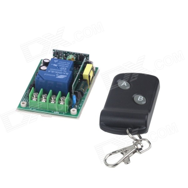 ZnDiy-BRY 220V 1-CH Remote Control Switch + Butterfly Dual-Key Remote Control - Green + Black