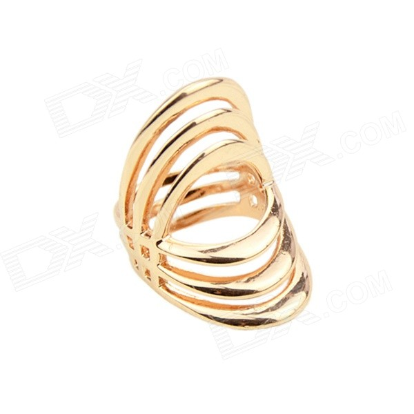 Women's Stylish Hollow-out Punk Style Gold-plated Zinc Alloy Ring - Gold (US Size: 7) punk style unique flower pattern zinc alloy plating ring silver
