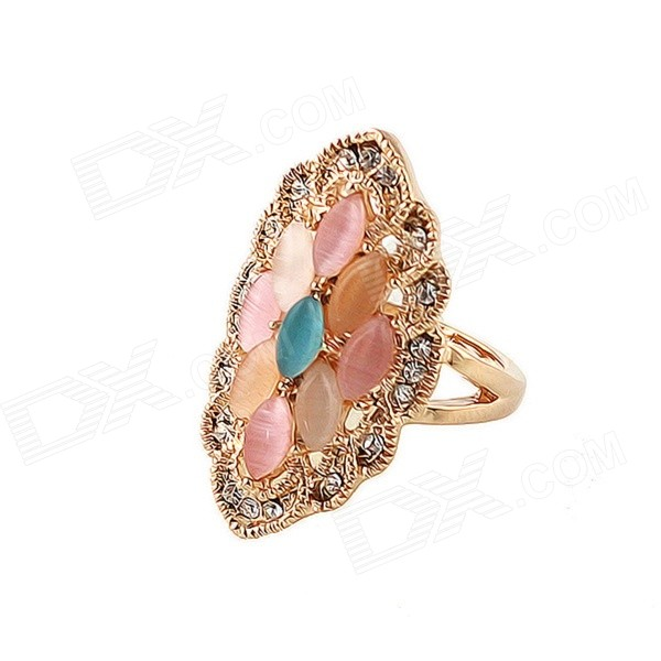 Womens Fashionable Rhinestone Inlaid Zinc Alloy Wedding Ring - Gold + Pink (US Size: 7)Rings<br>Color Golden + Pink + Multi-Colored U.S Size 7 Model Rg-3652-gold Quantity 1 Piece Shade Of Color Gold Material Zinc alloy Gender Women Suitable for Adults Ring Diameter 1.7 cm Ring Circumference 5.5 cm Packing List 1 x Ring<br>