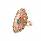 Women's Fashionable Rhinestone Inlaid Zinc Alloy Wedding Ring - Gold + Pink (US Size: 7)