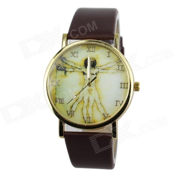 Women's Fashionable Retro Rome Jesus Pattern Dial PU Band Quartz Analog Watch - Brown (1 x 377)