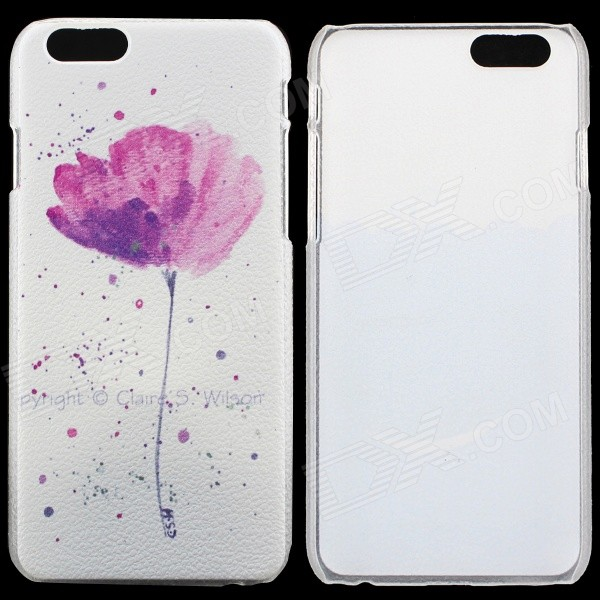 Flower Pattern Protective PC Back Case for IPHONE 6 - White + Deep Pink virgo pattern protective abs pc hard back case w rhinestone for iphone 5 deep pink white
