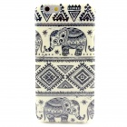 Elephant Pattern Protective TPU Back Case for IPHONE 6 - White + Black