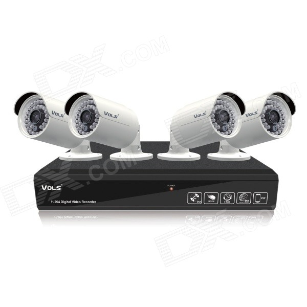 VOLS VS-4040CS 4-CH 720P AHD DVR Beveiligingssysteem met 500 GB HDD, 4 x 1,3 MP IR-camera's (NTSC / US Plugs)