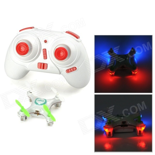 WLtoys V676 2.4GHz 4-CH Outdoor R/C UFO Helicopter Aircraft w/ 6-Axis Gyro / Lamp - White + Green wltoys wl r4 2 9 lcd 6 axis multi function remote controller for r c toy black 4 x aa