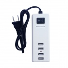 5V-2.1A USB 4-Port US Plug Power Charger + EU-Plug Adapter for Tablets / Cellphone - White + Black