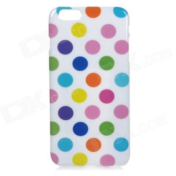 Colorful Polka Dots Pattern Protective Silicone Back Case for IPHONE 6 PLUS - White + Multicolored elephant pattern protective plastic back case cover for iphone 6 plus black white multicolor