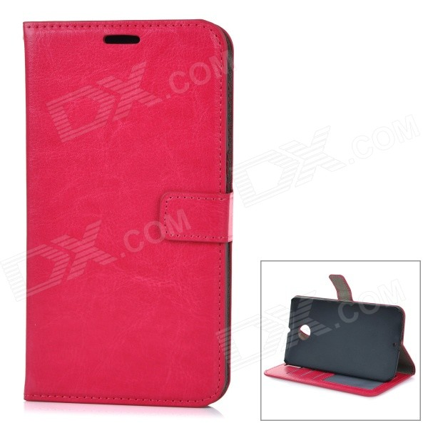 Protective Flip Open PU Leather Case Cover w/ Stand + Card Slot for Google Nexus 6 - Deep Pink