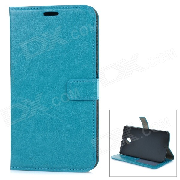 Protective Flip Open PU Leather Case Cover w/ Stand + Card Slot for Google Nexus 6 - Blue flip pu leather protective stand case cover for zte blade l2