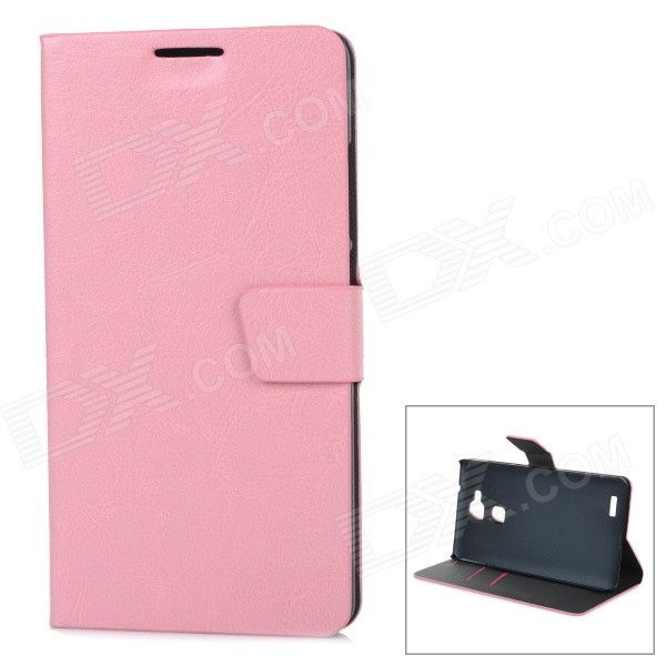 Protective Flip Open PU Case Cover w/ Stand + Card Slot for Huawei Ascend Mate 7 - Pink stripe pattern protective flip open pu case w card slot stand for ipad air 2 white multicolor