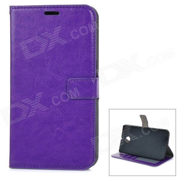 Protective Flip Open PU Leather Case Cover w/ Stand + Card Slot for Google Nexus 6 - Purple flip pu leather protective stand case cover for zte blade l2