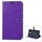Protective Flip Open PU Leather Case Cover w/ Stand + Card Slot for Google Nexus 6 - Purple