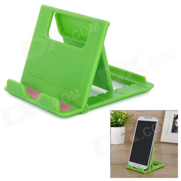 Portable Folding Adjustable ABS Desktop Holder Stand for Tablet PC & Cellphone - Green + Pink