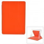 Flip-Open Auto-Sleep PU + PC Case w/ Transformable Stand for IPAD AIR 2 - Orange + Transparent
