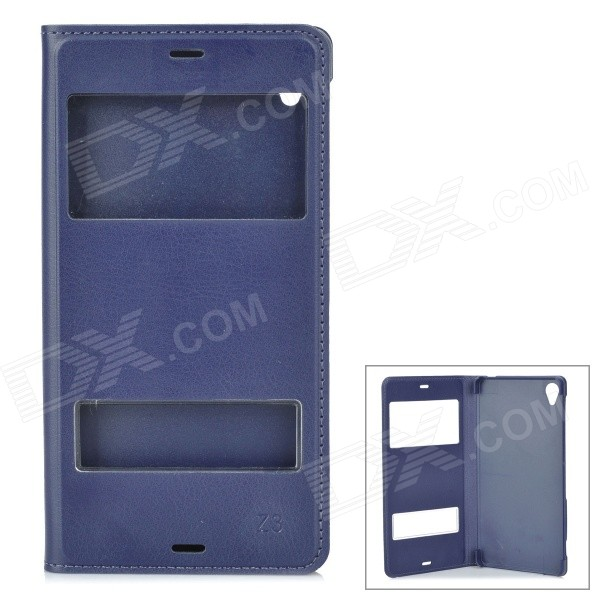 Protective PU + PC Flip-Open Case w/ Dual Window Display for Sony Xperia Z3 - Blue смартфон sony xperia xa1 ultra dual